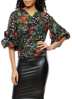 Tier Sleeve Floral Wrap Top - 1004074290726