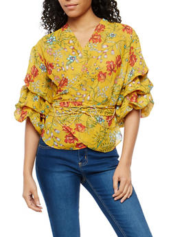 Tiered Sleeve Floral Wrap Top - 1004074290726