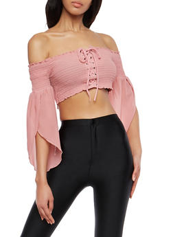 Lace Up Off the Shoulder Crop Top - 1004074290848