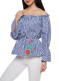 Gingham Embroidered Off the Shoulder Top - 1005038348585
