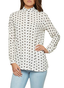 Polka Dot Button Front Shirt - 1005038349608