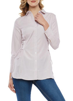 Lace Up Side Button Front Top - 1005051063514