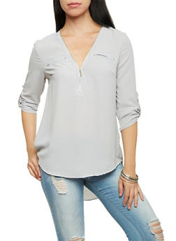 Zip Neck Blouse with Three Quarter Sleeves - 1005051067596