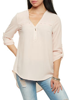 Zip Neck Blouse with Three Quarter Sleeves - BLUSH - 1005051067596