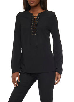 Long Sleeve Lace Up Crepe Knit Top - BLACK - 1005051068537