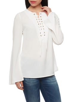 Long Sleeve Lace Up Crepe Knit Top - IVORY - 1005051068537