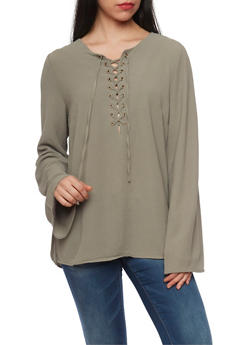 Long Sleeve Lace Up Crepe Knit Top - SAGE - 1005051068537