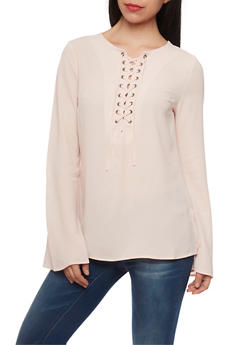 Long Sleeve Lace Up Crepe Knit Top - BLUSH - 1005051068537