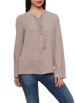 Long Sleeve Lace Up Crepe Knit Top - TAUPE - 1005051068537