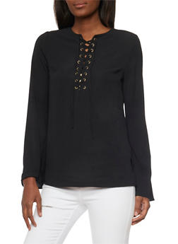 Long Sleeve Lace Up Top - BLACK - 1005051068538