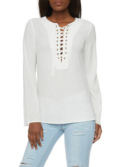 Long Sleeve Lace Up Top - IVORY - 1005051068538