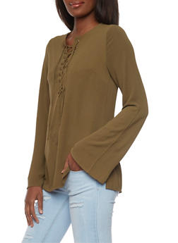 Long Sleeve Lace Up Top - OLIVE - 1005051068538