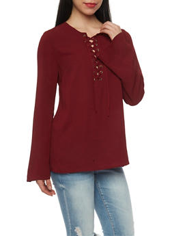 Long Sleeve Lace Up Top - OXBLOOD - 1005051068538