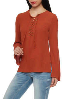 Long Sleeve Lace Up Top - CINNAMON - 1005051068538