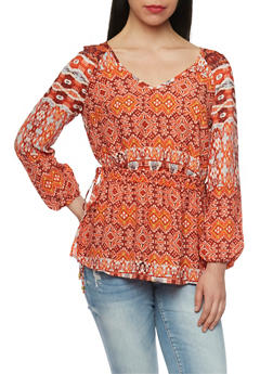 Printed V Neck Top with Rouched Waist - 1005051068689