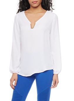 Long Sleeve Chiffon Top with Metal V Neck Accent - WHITE - 1005051068713