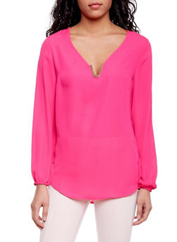 Long Sleeve Chiffon Top with Metal V Neck Accent - 1005051068713