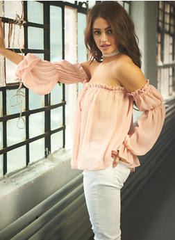 Cinched Sheer Off The Shoulder Peasant Top - 1005051068927
