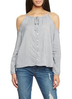 Long Sleeve Cold Shoulder Pinstripe Blouse - 1005051069190