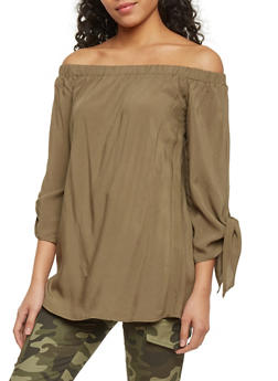 Smocked Off The Shoulder Top with Tie Sleeves - OLIVE - 1005051069192
