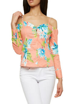 Floral Off the Shoulder Button Front Top - 1005051069647