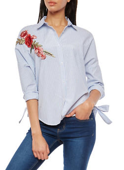 Floral Applique Button Front Shirt - 1005051069769