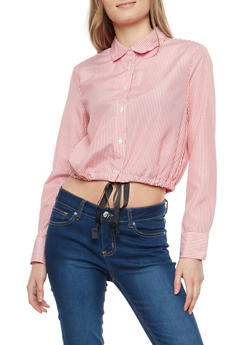Striped Button Front Shirt with Drawstring Waist - 1005051069848