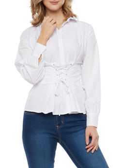 Lace Up Waist Button Front Shirt - 1005051069871