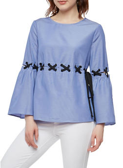 Striped Lace Up Bell Sleeve Top - 1005051069899