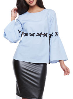 Lace Up Bell Sleeve Blouse - 1005051069900