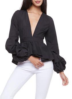 Tiered Sleeve Plunging V Neck Peplum Top - BLACK - 1005051069908