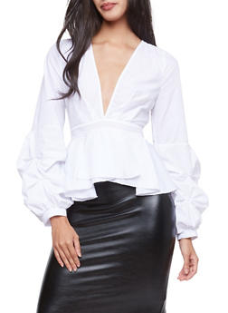 Tiered Sleeve Plunging V Neck Peplum Top - WHITE - 1005051069908