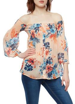 Sheer Floral Smocked Off the Shoulder Top - 1005051069916