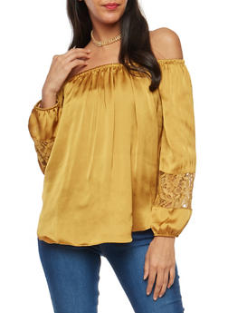 Satin Off the Shoulder Top with Lace Sleeve Inserts - MUSTARD - 1005054268853
