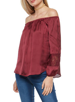 Satin Off the Shoulder Top with Lace Sleeve Inserts - 1005054268853