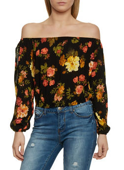 Off the Shoulder Floral Print Long Sleeve Top - 1005054269423