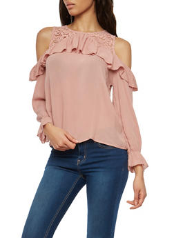 Lace Trim Cold Shoulder Top - 1005054269826