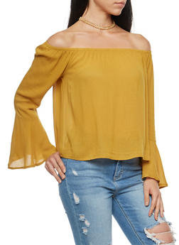 Off the Shoulder Bell Sleeve Top - 1005054269827
