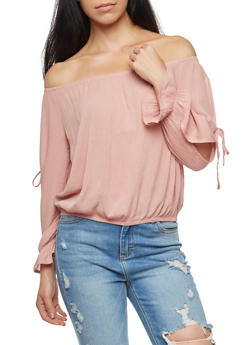 Off the Shoulder Slit Tie Sleeve Top - 1005054269829