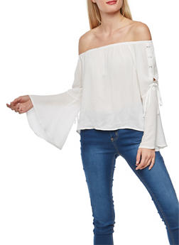 Off the Shoulder Lace Up Bell Sleeve Top - 1005054269830