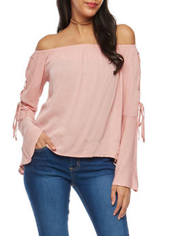 Off the Shoulder Lace Up Bell Sleeve Top - MAUVE - 1005054269830