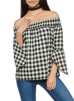 Gingham Print Flannel Off the Shoulder Top - 1005058750192