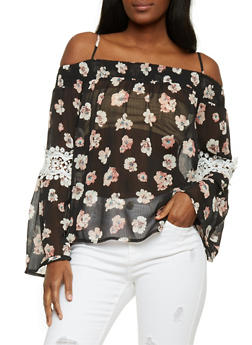 Floral Off the Shoulder Blouse with Crochet Trim - 1005058750679