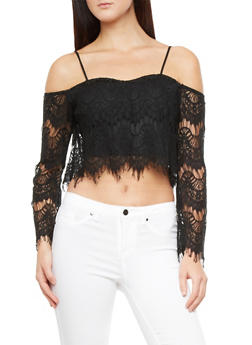 Off The Shoulder Crop Top With Lace And FringeOff The Shoulder Crop Top With Lace And Fringe,BLACK,medium