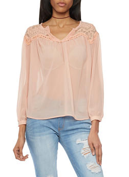Sheer Crochet Yoke Blouse with Button Cuff Sleeves - BLUSH - 1005058750837