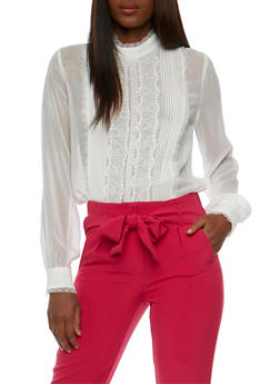 Long Sleeve Lace Pintuck Blouse - 1005058751313