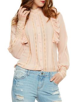 Ruffled Long Sleeve Lace Trim Shirt - 1005058751315