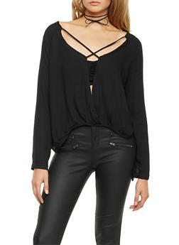 Long Sleeve Top with Split Front Paneling - 1005058754857