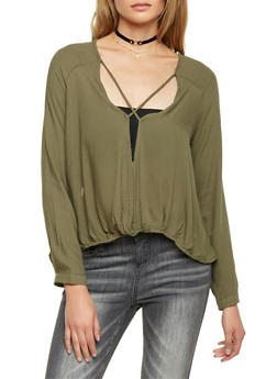Long Sleeve Top with Split Front Paneling - OLIVE - 1005058754857