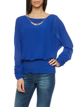 Draped Top with Split Long Sleeves and Necklace - 1005058756365